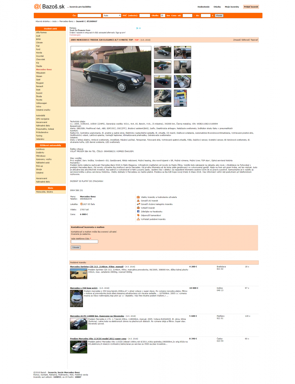 Celý inzerát na spomínanom portáli pre predaj vecí aj automobilov. Zdroj   Bazoš.sk e3545eb9a0