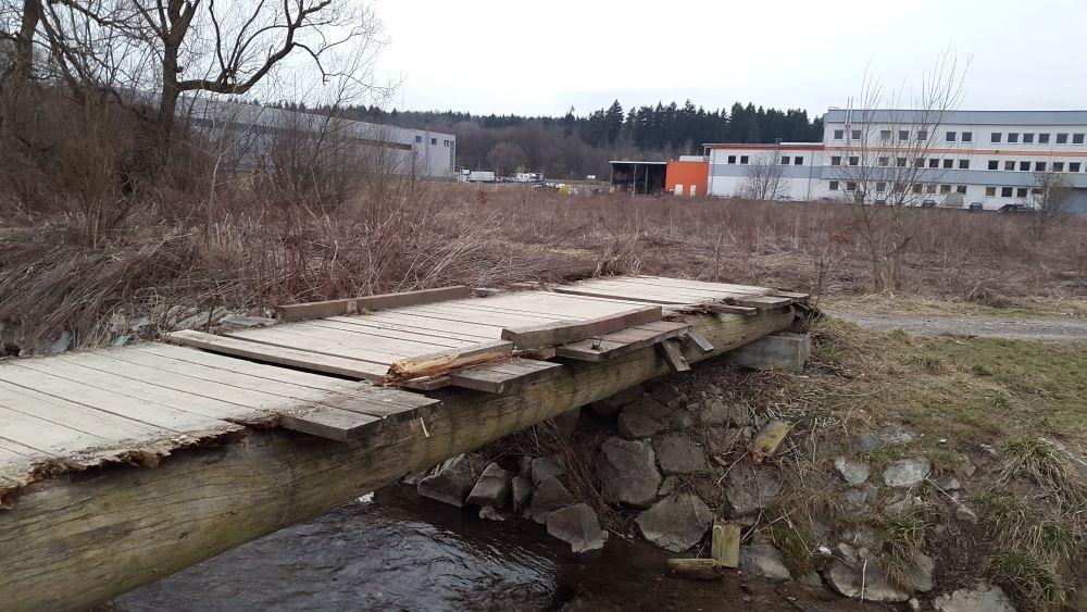 Zničený most cez potok Rosinka, foto 3