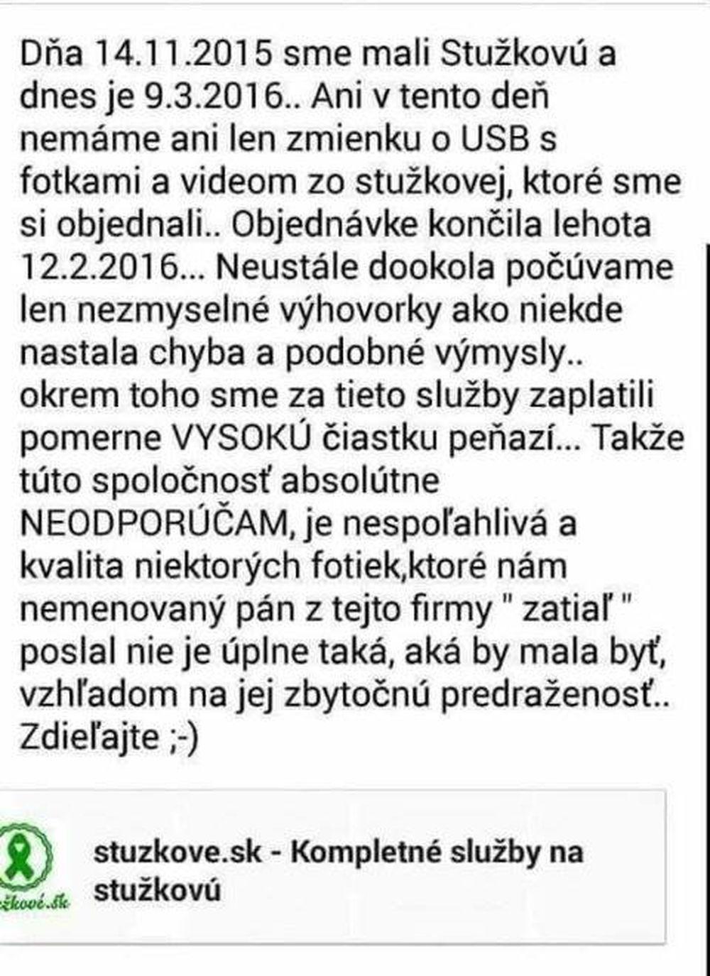 Nespokojní zákazníci spoločnosti, ktorá mala dodať video zo Stužkovej, foto 9