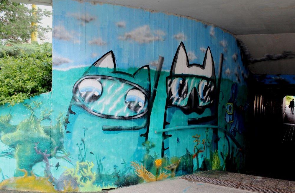 Grafitti a stree-art podchod pri plavárni ulica Vysokoškolákov , foto 1