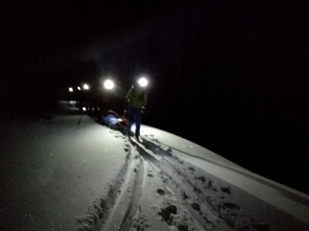 Zranený skialpinista Malá Fatra 29. decembra 2016, foto 2
