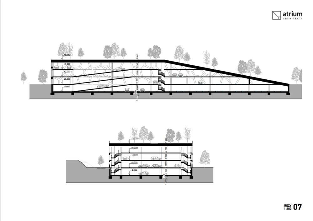 Parkovací dom Osiková ulica - návrh architektonické štúdio Atrium