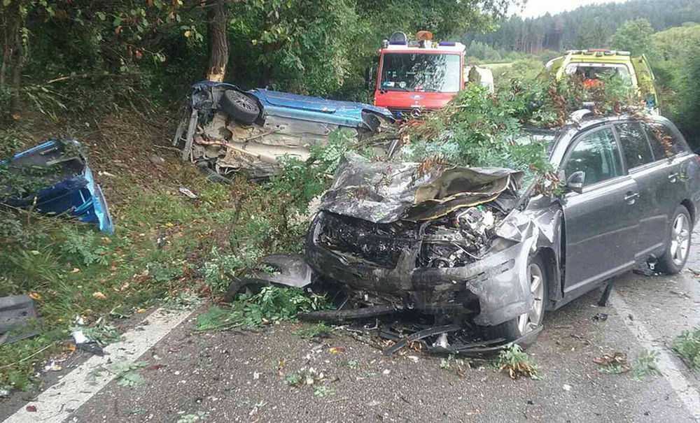 Dopravná nehoda pri Turčianskych Tepliciach 26.8.2018, foto 1