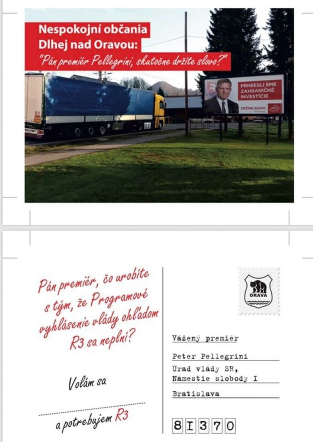 Pohľadnice na protest proti zdržaniu výstavby R3 na Orave, foto 1