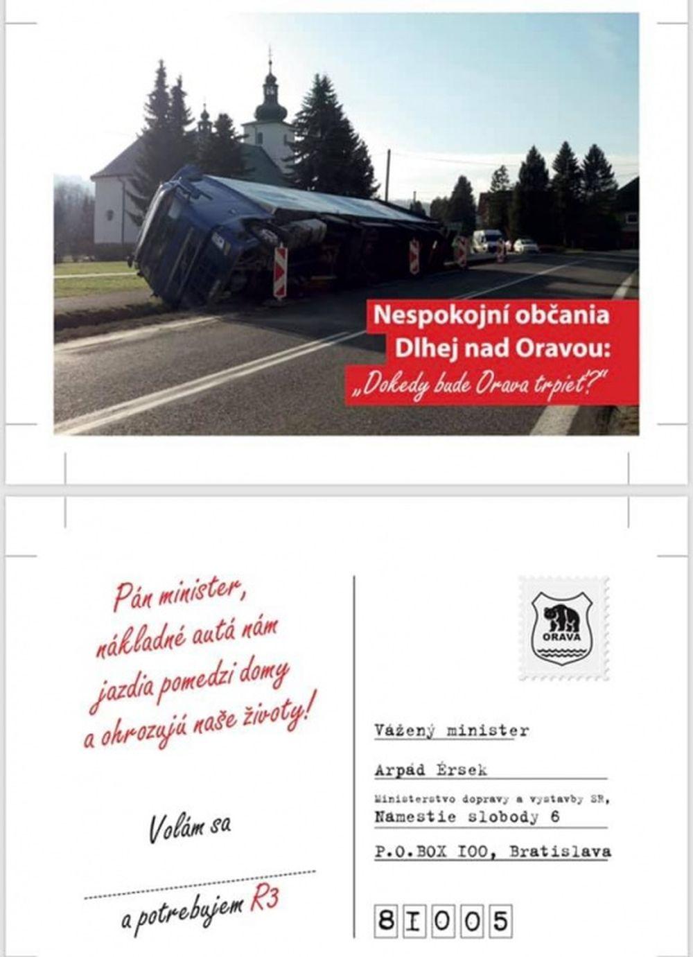 Pohľadnice na protest proti zdržaniu výstavby R3 na Orave, foto 2