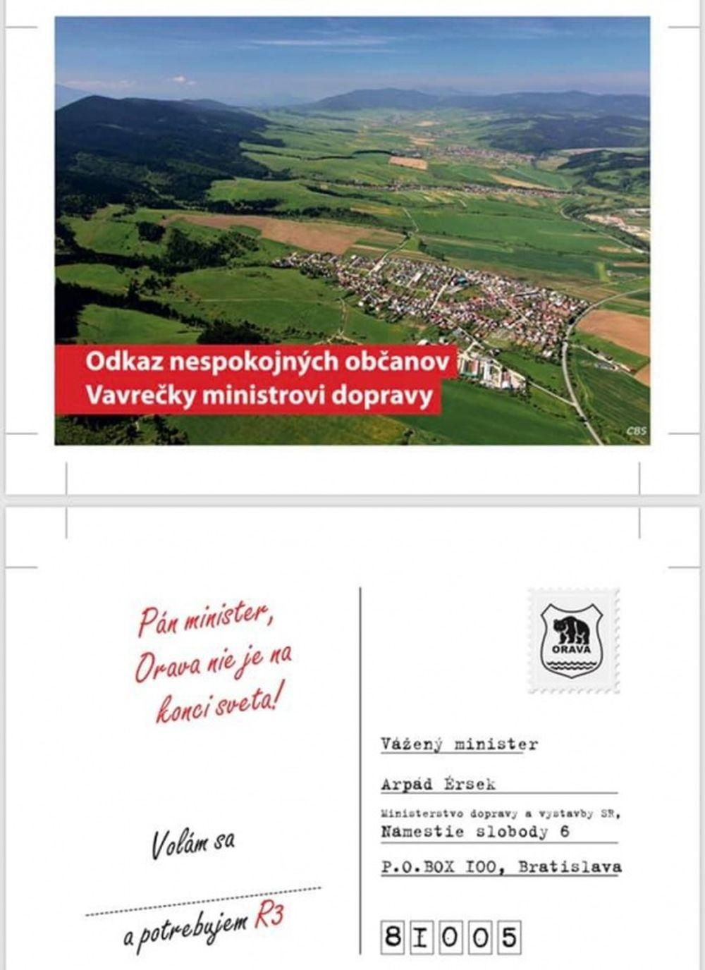 Pohľadnice na protest proti zdržaniu výstavby R3 na Orave, foto 4