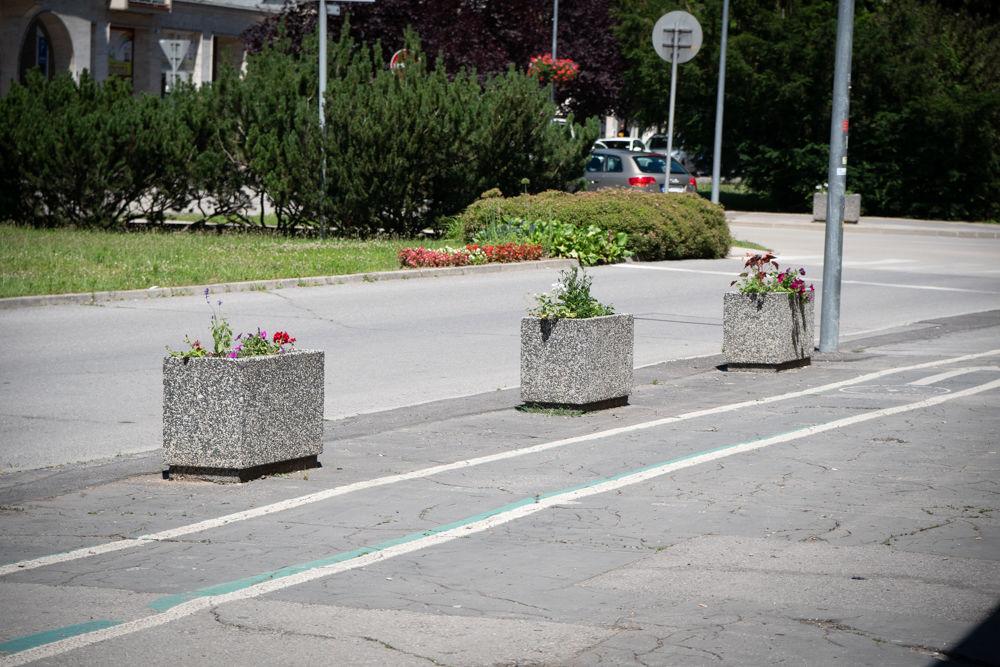 FOTO: Betónové kvetináče v centre Žiliny skrášlili vysadením trvaliek a trávy, foto 7