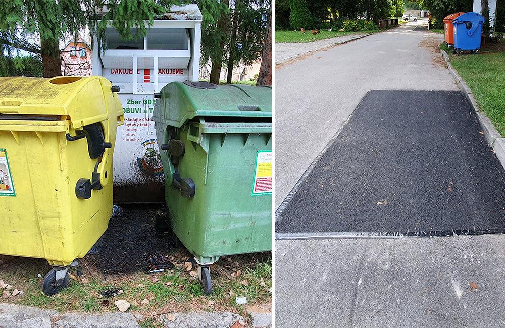 FOTO: Medzi kontajnery na separovaný odpad v mestskej časti Rosinky niekto vylial asfaltovú emulziu, foto 1