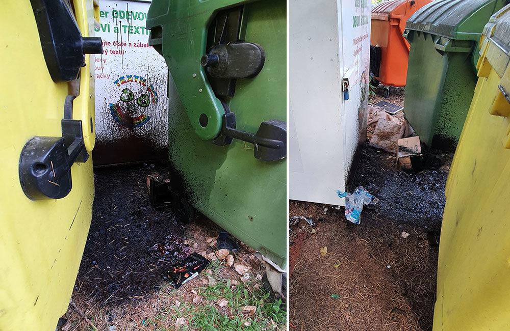FOTO: Medzi kontajnery na separovaný odpad v mestskej časti Rosinky niekto vylial asfaltovú emulziu, foto 2