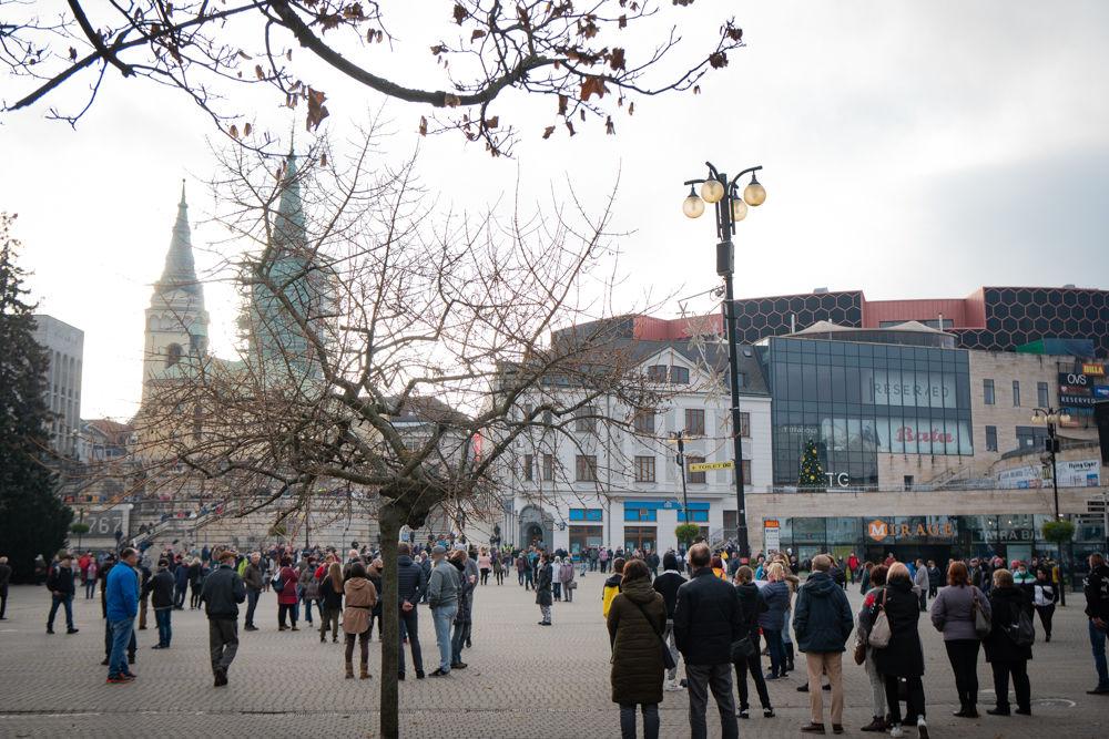FOTO: V Žiline sa zišlo niekoľko stoviek ľudí na protest proti vládnym opatreniam, foto 6