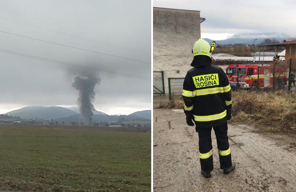 FOTO: Dnes dopoludnia došlo k požiaru haly v obci Rosina, hustý dym bolo vidieť z celého mesta, foto 1