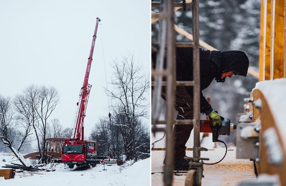 FOTO: Práce na výstavbe novej cyklotrasy pokračujú aj cez zimu, aktuálne budujú most v obci Belá, foto 2