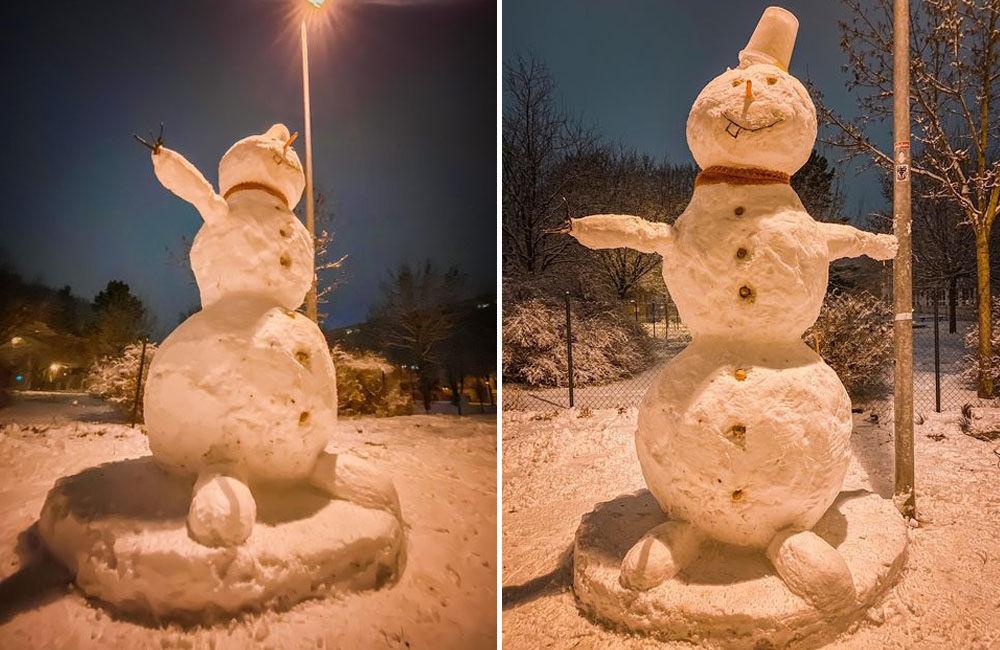 FOTO: Deti na sídlisku Vlčince čaká ráno prekvapenie, dvaja mladíci postavili trojmetrového snehuliaka, foto 2