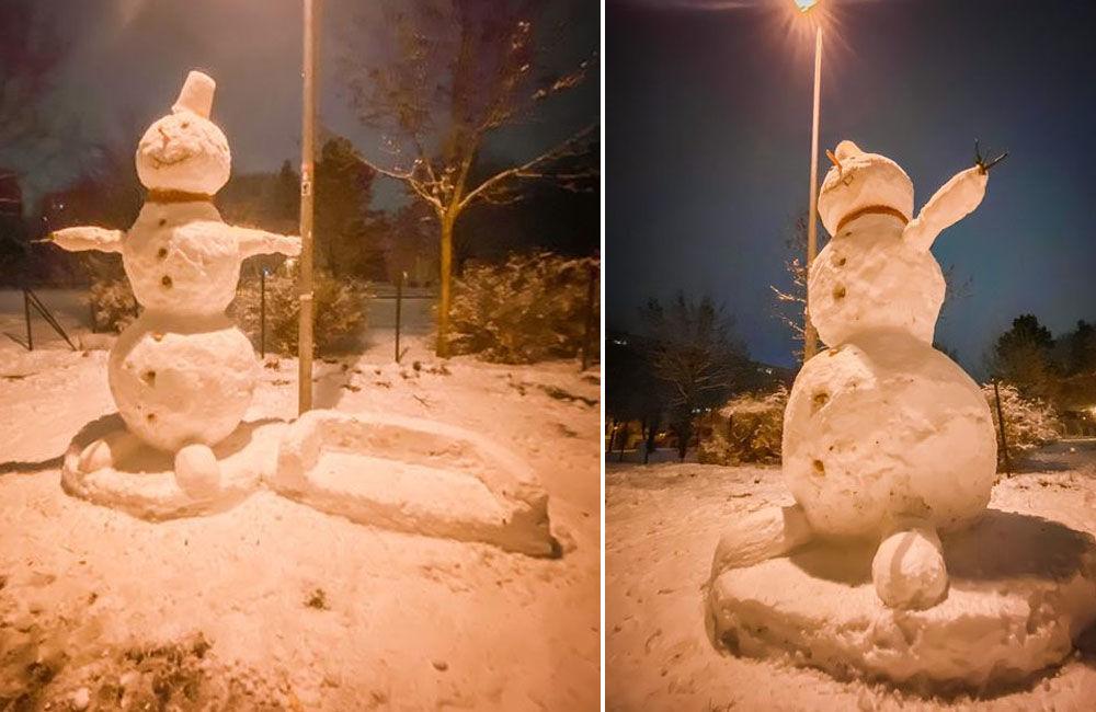 FOTO: Deti na sídlisku Vlčince čaká ráno prekvapenie, dvaja mladíci postavili trojmetrového snehuliaka, foto 3
