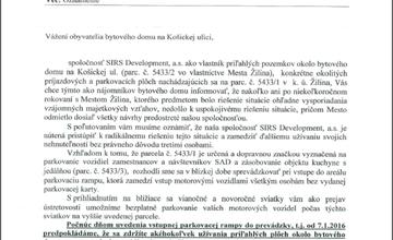 List občanom na ulici Košická od spoločnosti SIRS Development,a.s.