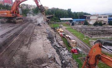 Demolácia mosta Horelica v Čadci