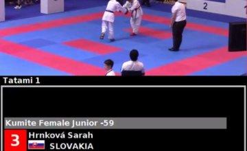 Úspech Sarah Hrnkovej z Karate Klubu AC UNIZA Žilina