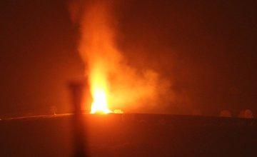 Nočný požiar pri obci Rosina 22.4.2018