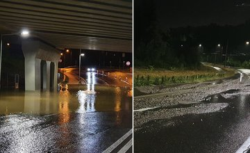 FOTO: Počas nedeľňajšej búrky zatopilo podjazd na Solinkách a vyplavilo štrk na cestu pri lesoparku