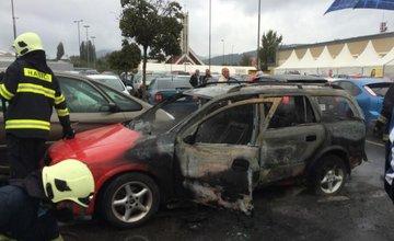 Pred Kauflandom zhorelo osobné auto