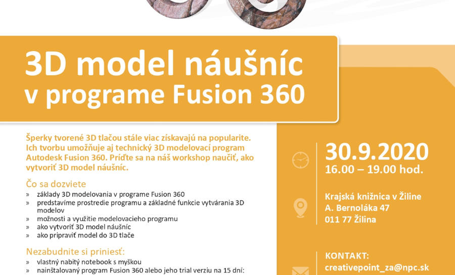 Foto: Workshop: 3D model náušníc v programe Fusion 360