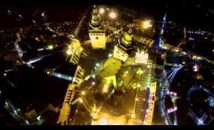Žilina, centrum v noci - letecké zábery